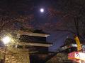 月が輝く。上田城東虎口櫓門を西(裏)側から