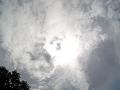 お昼、頭の上の雲の中の太陽
