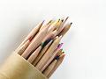 筒状の入れ物から飛び出す色鉛筆