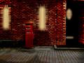 [煉瓦の建物と丸ポスト]夜(建物内部点灯)