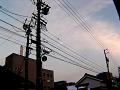 ビルの上、電線の間の夕月