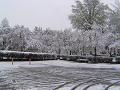 春の雪の日の駐車場