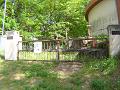 水道施設の門 閉ざされた鉄の門扉、コンクリートの建物、鬱蒼と茂る木々。
