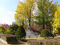 銀杏の木の下の胸像