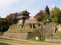 尼が淵から上田城西櫓を眺める