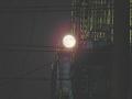 工事現場の月+十六夜(合成)