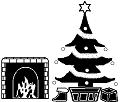 暖炉とクリスマスツリー(モノクロドット絵)