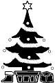 クリスマスツリー(モノクロドット絵)